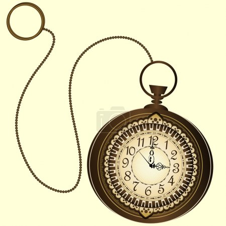 Vector icon of retro pocket watches with chain