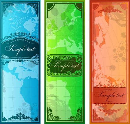 Set of three colorful bookmarks with map silhouettes