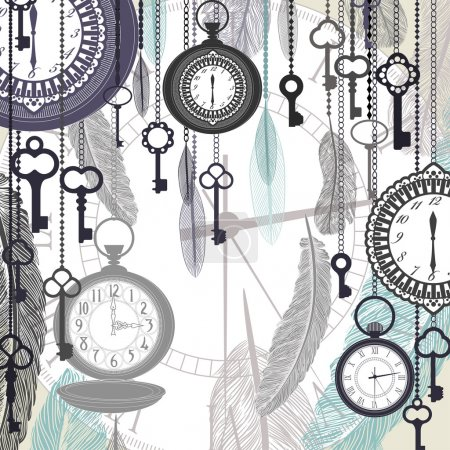 Vintage vector background with pocket watches and feathers