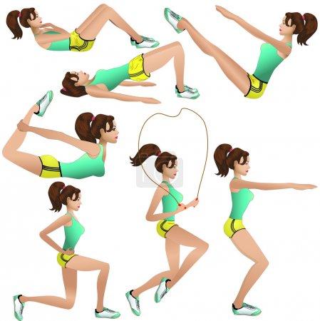 Illustration for Beautiful girl making exercises - Royalty Free Image