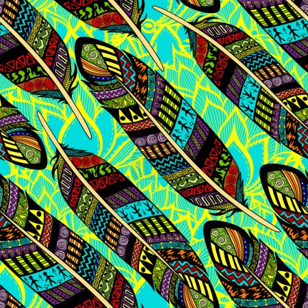 Illustration for Vector seamless pattern with etno ornate colorful feathers - Royalty Free Image