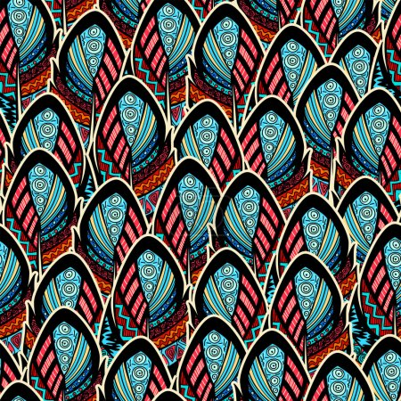 Seamless pattern with ornate feathers