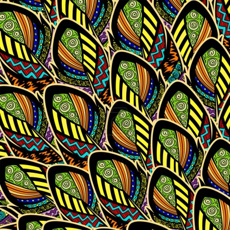 Illustration for Seamless pattern with ornate feathers - Royalty Free Image