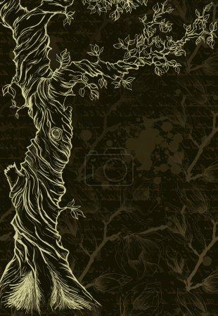 Illustration pour Croquis de l'arbre sur fond orné grungy - image libre de droit