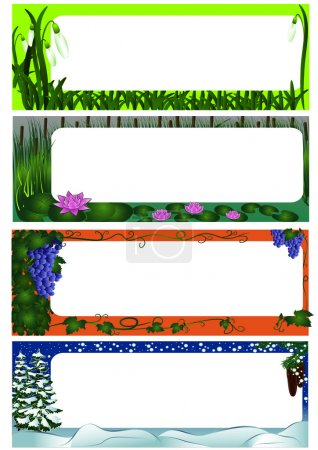 Illustration for Set of four season nature frames (colored version) - Royalty Free Image