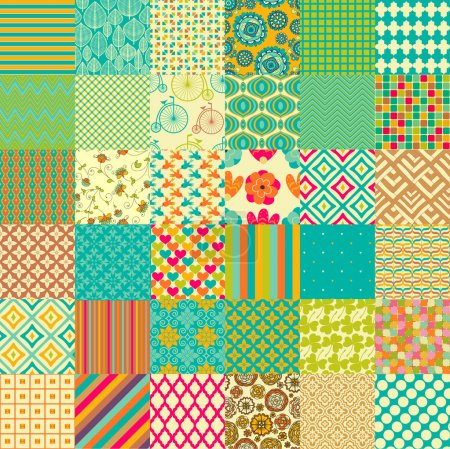 Illustration for Set of seamless childish patterns - Royalty Free Image