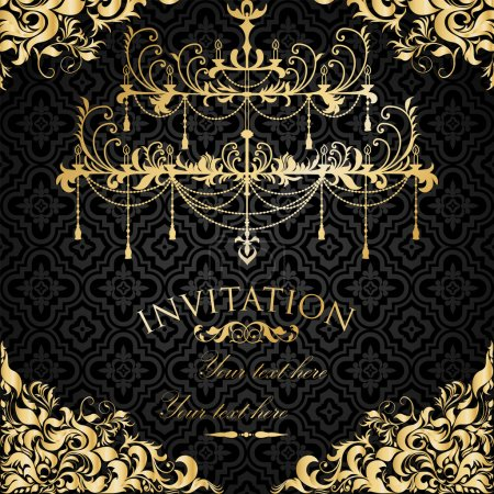 Illustration for Luxury invitation with chandelier - Royalty Free Image