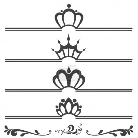 Collection of vintage text headers with crowns