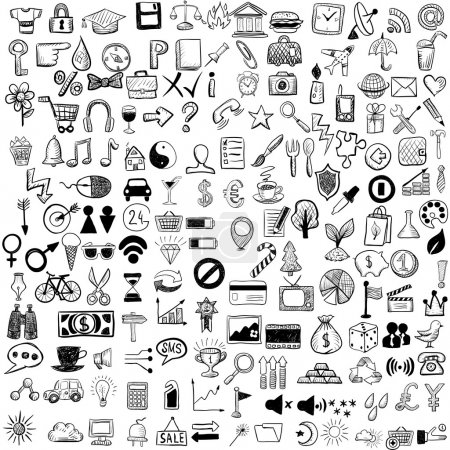Illustration for Set of sketch icons for site or mobile application - Royalty Free Image