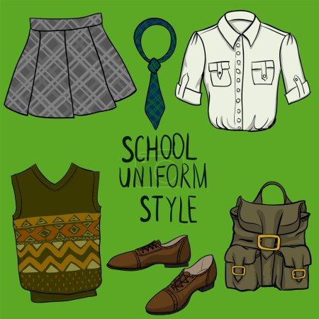 School uniform vector set