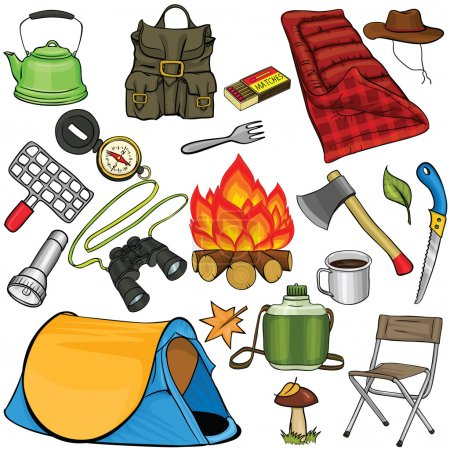 Illustration for Set of camping gear in cartoon style - Royalty Free Image