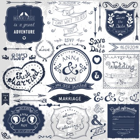Retro hand drawn elements for wedding invitations