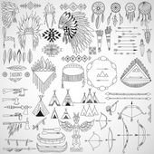 Collection of tribal doodle design elements