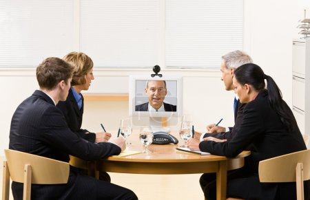 Business in video meeting