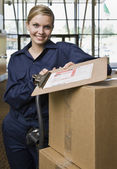Young Woman Delivering Boxes