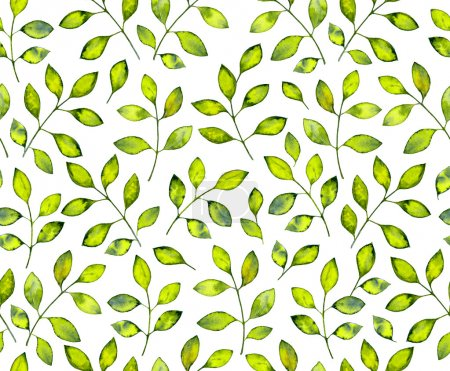 Photo for Seamless pattern with abstract watercolor leaves - Royalty Free Image