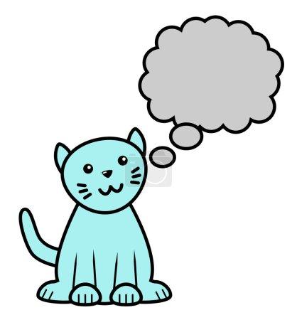 Photo pour Icône d'un chat bleu de séance avec la bulle de pensée. - image libre de droit