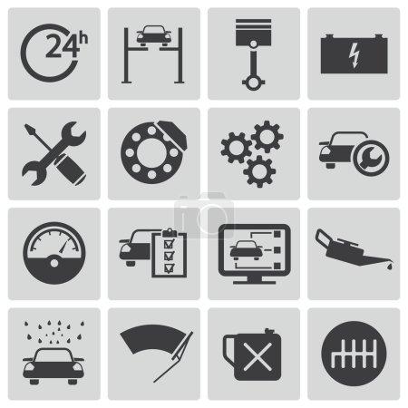 Ilustración de Vector black car service set - Imagen libre de derechos