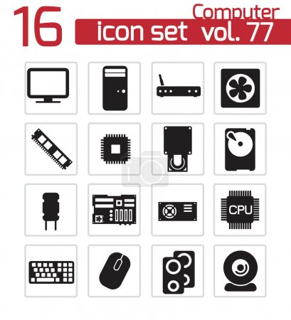 Vector black PC components icons set