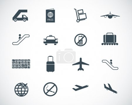 Illustration for Vector black airport icons set - Royalty Free Image