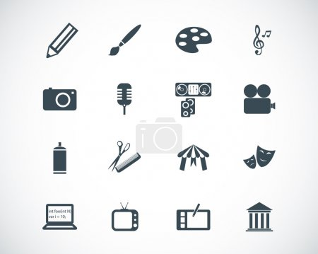 Illustration for Vector black art icons set - Royalty Free Image