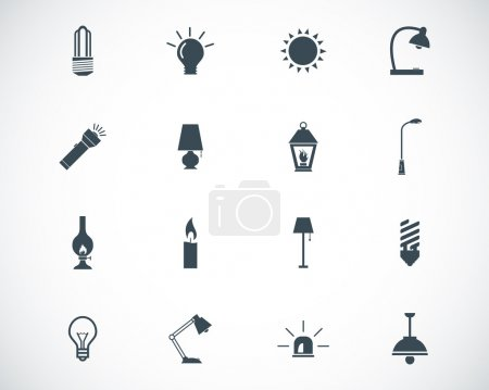 Illustration for Vector black light icons set - Royalty Free Image