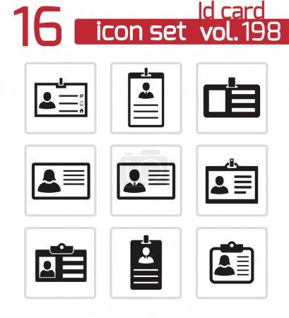 Vector black id card icons set