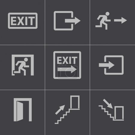 Vector black exit icons set...