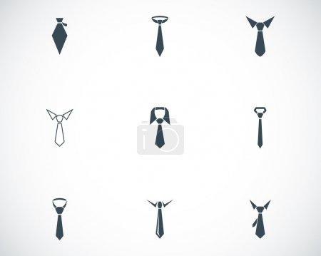 jeu d'icônes vectorielles cravate noire