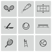 Vector black tennis icons set on white background