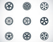 Vector black wheel disks icons set on white background