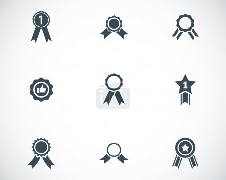 Vector black award medal icons set