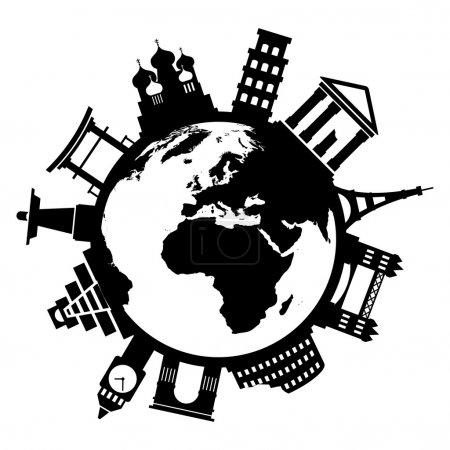 Illustration for Travel famous monuments around world on white background - Royalty Free Image