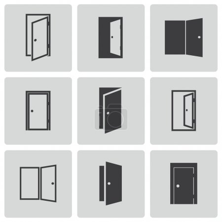 Illustration for Vector black door icons set on white background - Royalty Free Image