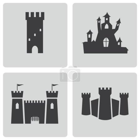 Vector black castle icons set