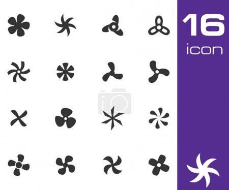 Vector black fans and propellers icons set white b...