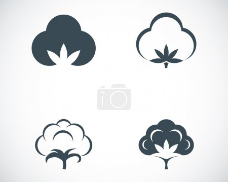 Illustration for Vector black cotton icons set on white background - Royalty Free Image