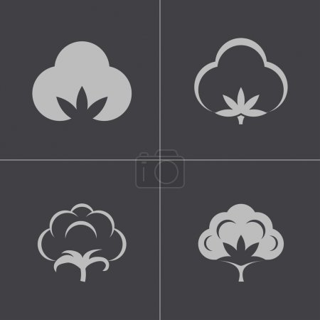 Illustration for Vector black cotton icons set on gray background - Royalty Free Image