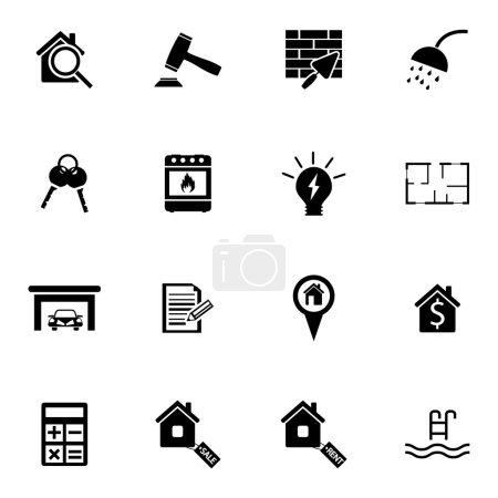 Illustration for Vector black real estate icons set on white background - Royalty Free Image
