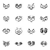 Vector black  cartoon  eyes  set on white background