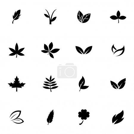Illustration for Vector black leaf icons set white background - Royalty Free Image