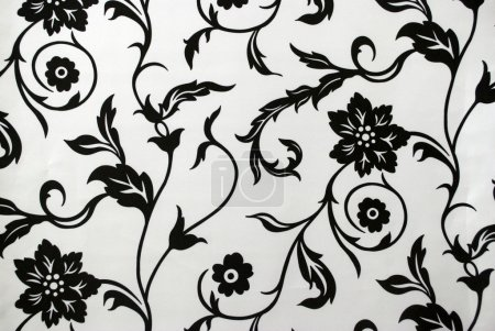 Decorative wallpaper with floral pattern in black and white