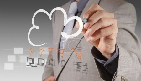 Photo for Businessman drawing a Cloud Computing diagram on the new computer interface - Royalty Free Image