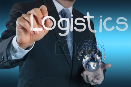 Photo for Businessman hand shows logistics diagram as concept - Royalty Free Image