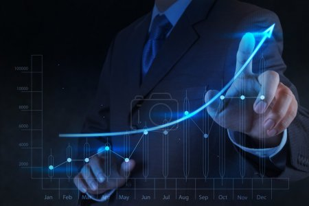 Photo for Businessman hand touch 3d virtual chart business - Royalty Free Image
