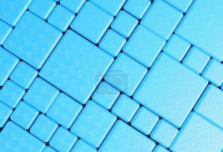Photo pour Acier bleu cube maille plaque métallique fond ou texture - image libre de droit