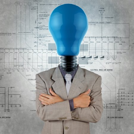 smart engineer with blue lightbulb head with electrical diagram