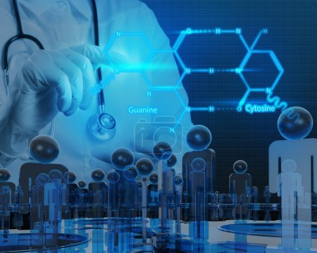 Photo for Chemist doctor hand drawing chemical formulas on virtual board - Royalty Free Image