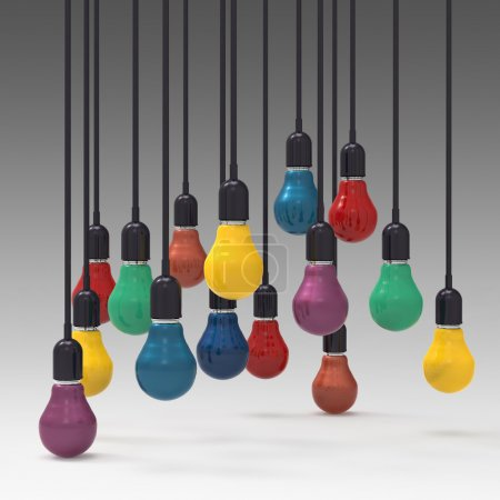 Photo for Creative idea and leadership concept 3d colors light bulb - Royalty Free Image