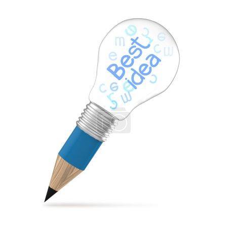 Foto de La mejor idea creativa como concepto creativo de la bombilla de lápiz - Imagen libre de derechos